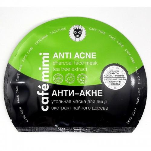 "Café Mimi - Ugljena sheet maska za lice ""ANTI-ACNE"" 22G"