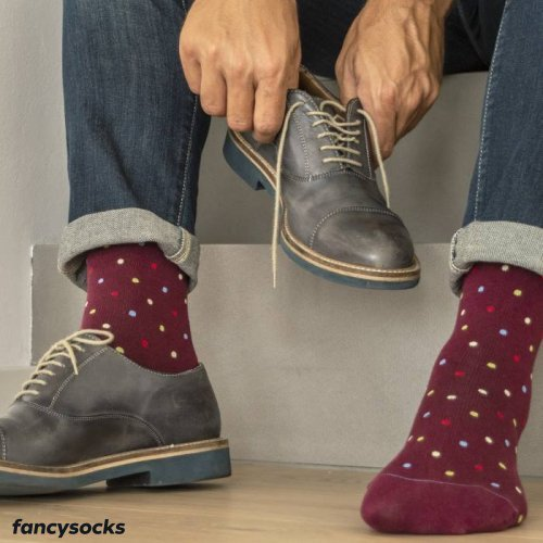 FANCY SOCKS - POLKA DOT Pattern - Dokolenice Unisex 140 DEN (18-22 mmHg)