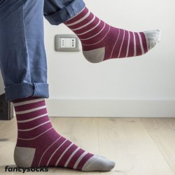 FANCY SOCKS - STRIPED Pattern - Dokolenice Unisex 140 DEN (18-22 mmHg)