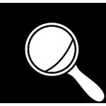 Lupa ispred grafika u isprekidanoj kružnici